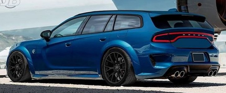2020 dodge charger hellcat widebody wagon rendered as dodge magnum revival