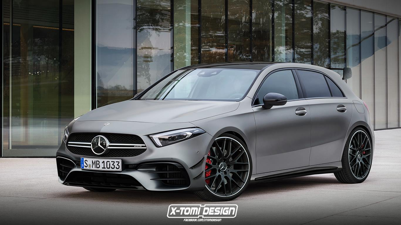 2020 mercedes amg a45 rendered could be called the a53. Black Bedroom Furniture Sets. Home Design Ideas