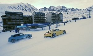 2020 Porsche 911 Hits Ski Slope with Macan, Goes Drifting