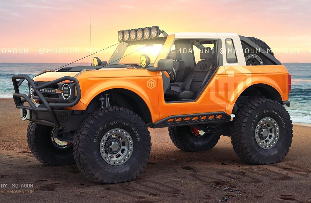 "2021 ford bronco rendered with ""offroad"" ford performance"
