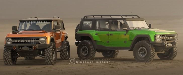 2021 Ford Bronco Rendered With Two Doors, Four Doors, Massive Off-Road Tires - autoevolution