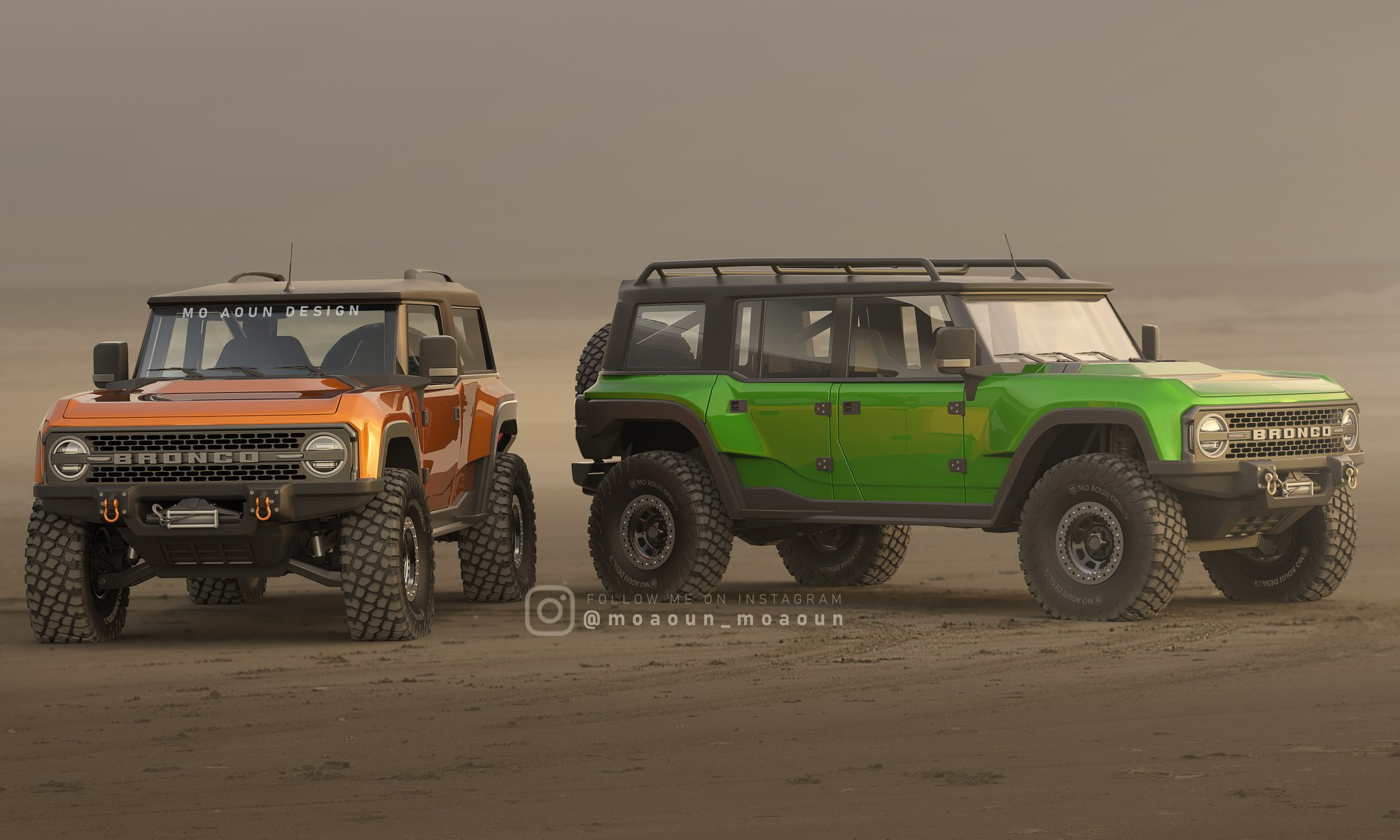 2021 Ford Bronco Rendered With Two Doors Four Doors Massive Off Road Tires Autoevolution