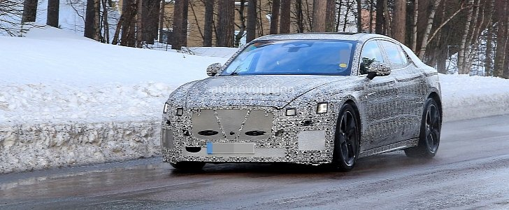 2021 jaguar xj spied braving the cold  ev prototype sports towing ball