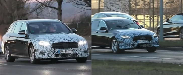 2021 mercedes-benz e-class facelift prototypes show two different grilles