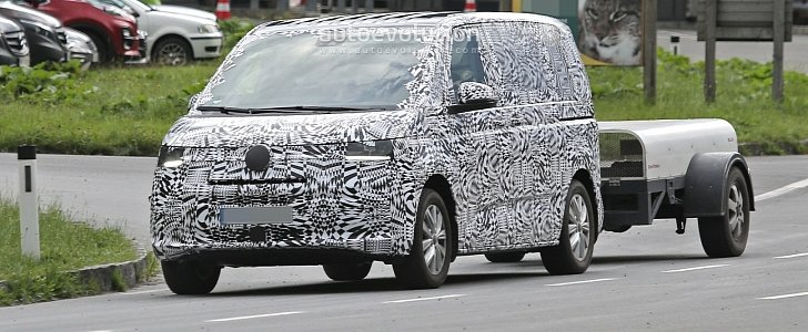 2021 volkswagen transporter t7 spied for the first time