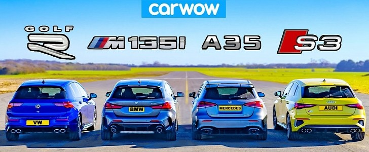 2022 VW Golf R Crushes Audi, BMW and AMG Hot Hatches in Drag Race - autoevolution