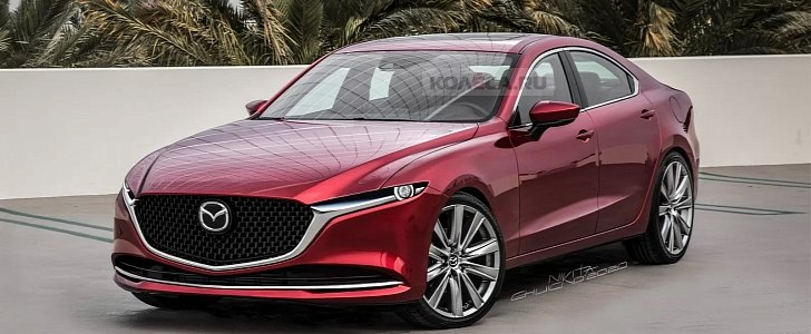 2023 mazda6 rendered, rumored to have rwd and straight-six