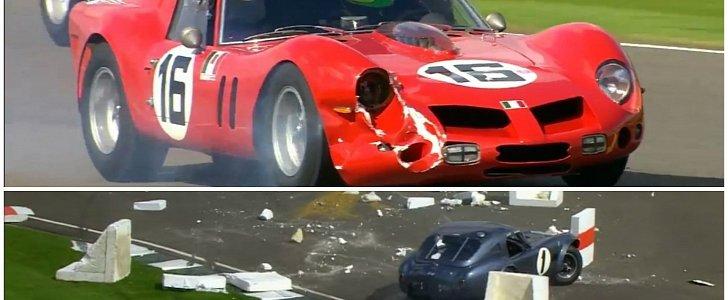 23m Ferrari Breadvan Crashes But Keeps Racing 7 5m Cobra Hits Barrier At Goodwood Autoevolution