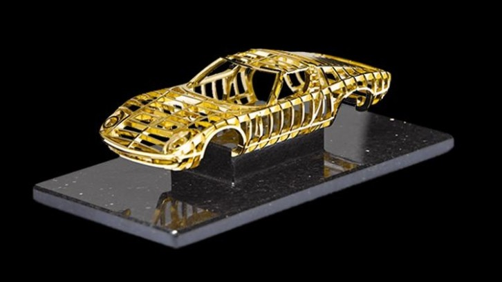 24 Carat Gold Lamborghini Miura Sculpture For Sale