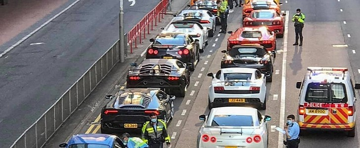 45 Supercars Pulled Over at the Same Time Make for an Arresting Visual