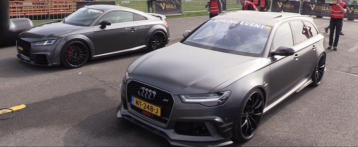 500 HP Decatted Audi TT RS Uses Launch Control to Take Down ABT RS6