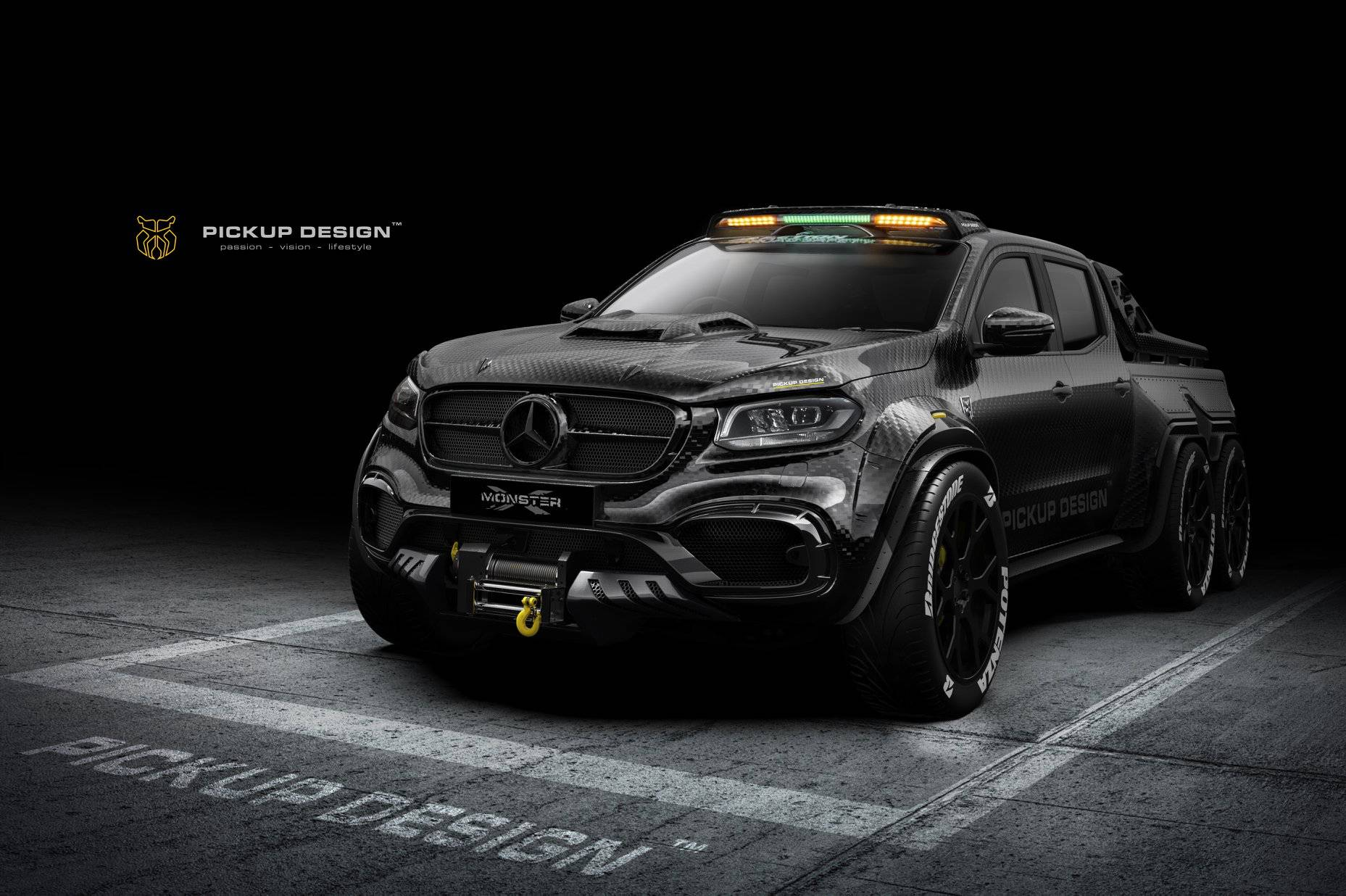 6-Wheel Mercedes X-Class Is a Carbon Monster - autoevolution