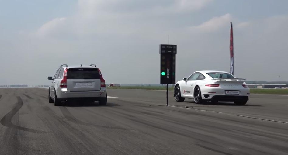720 HP Porsche 911 Turbo S Drag Races Sleeper Volvo V5 T5