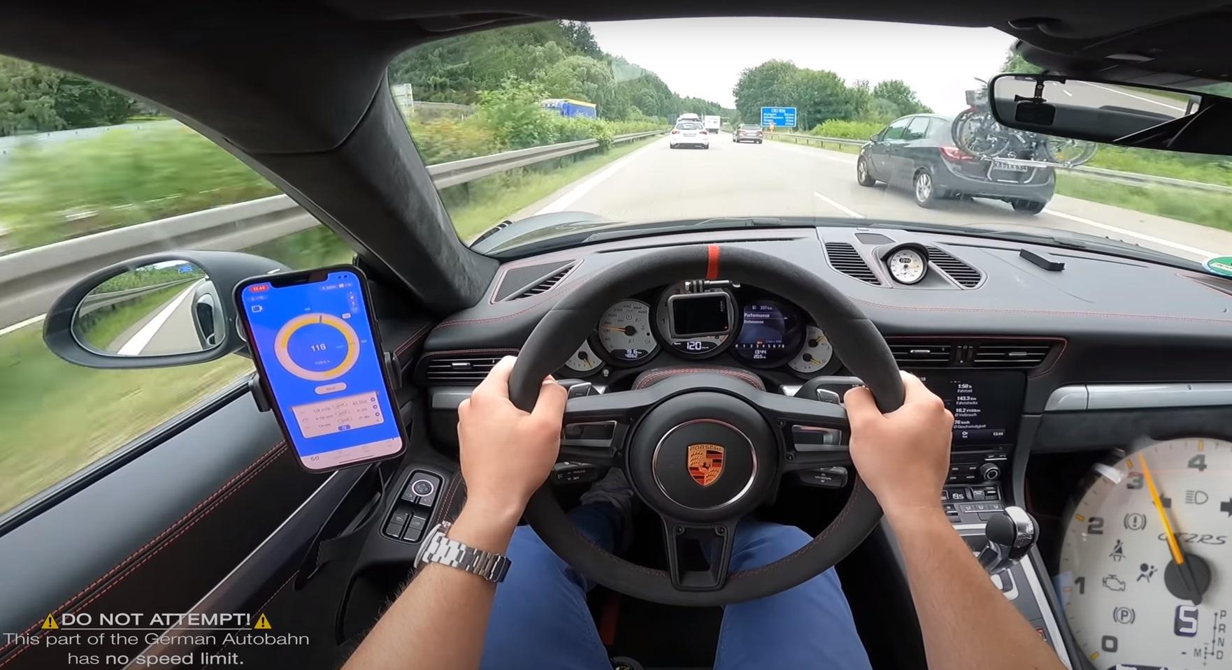 800HP Porsche 911 GT2 RS Goes for 217MPH (349KPH) Run on Busy Autobahn