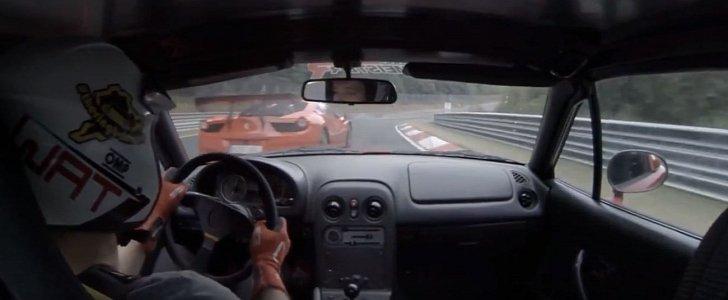 90 HP Miata Terrorizes Ferrari 458 GT3 in Close Nurburgring Chase