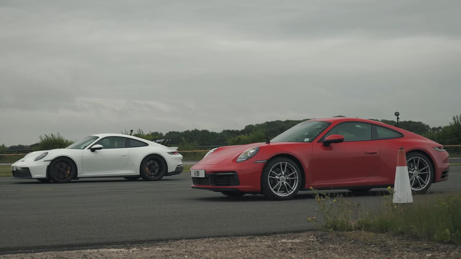 992 Porsche 911 GT3 vs Entry-Level Carrera Drag Race Isn't Even Close