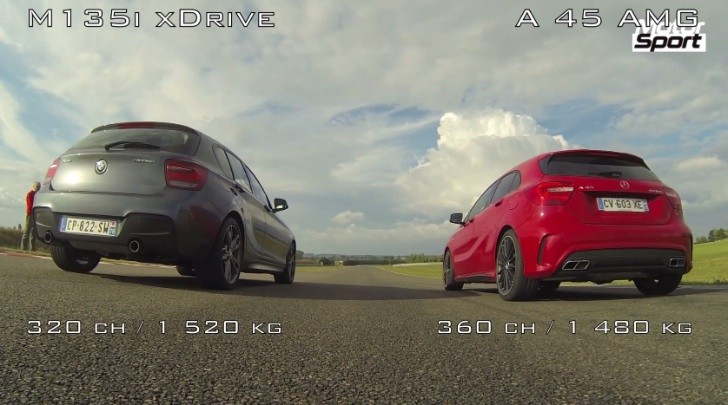 A 45 AMG Drag Races a BMW M135i xDrive [Video]