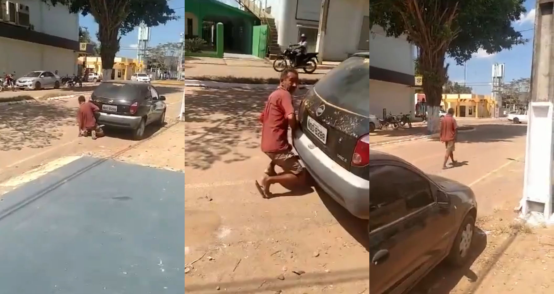 a man is caught making sweet love to the exhaust pipe of a car