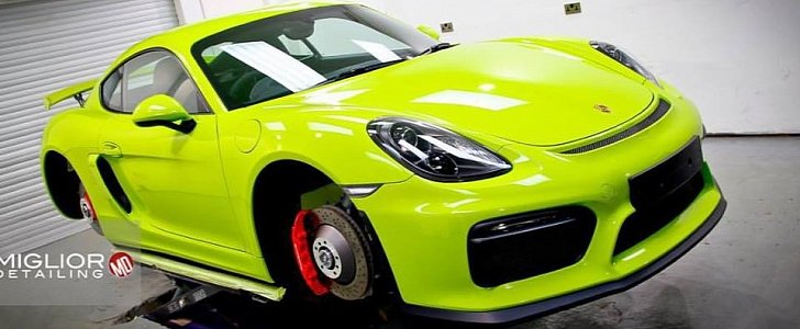 Acid Green Porsche Cayman Gt4 Gets Full Detailing The