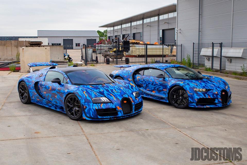 Afrojack's Bugatti Chiron and Veyron Get Matching Blue Camo Wraps