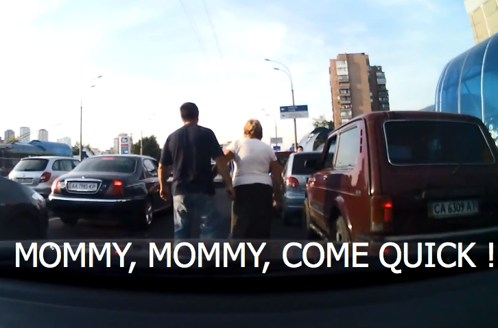 Aggressive Ukrainian Driver Gets Beaten and Retreats Behind His Mom [Video]