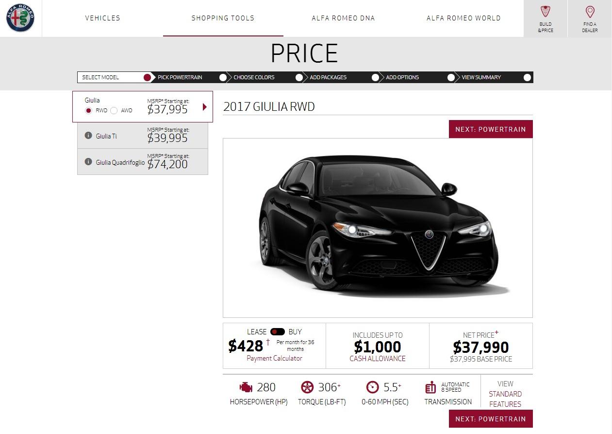 Alfa Romeo Fires Up USSpec Giulia Configurator Autoevolution - Alfa romeo price range