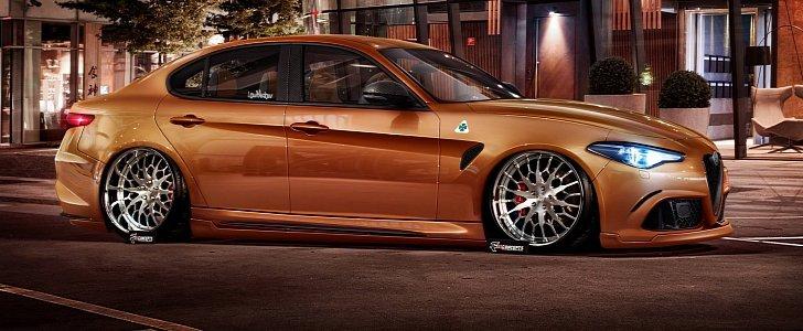 Alfa Romeo Giulia Imagined As Slammed Extreme Tuning