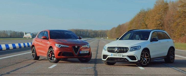 Alfa Romeo Stelvio QV vs. Mercedes-AMG GLC 63: Brutal 1,000 HP Drag Race