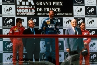 Nigel Mansell wins from Alain Prost and Ayrton Senna in the 1991 French Grand Prix