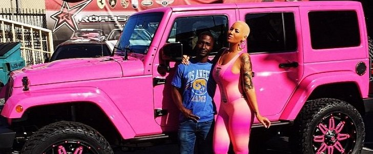 Amber Rose Turns Her Off-Roader into Barbie's Pink Jeep ...