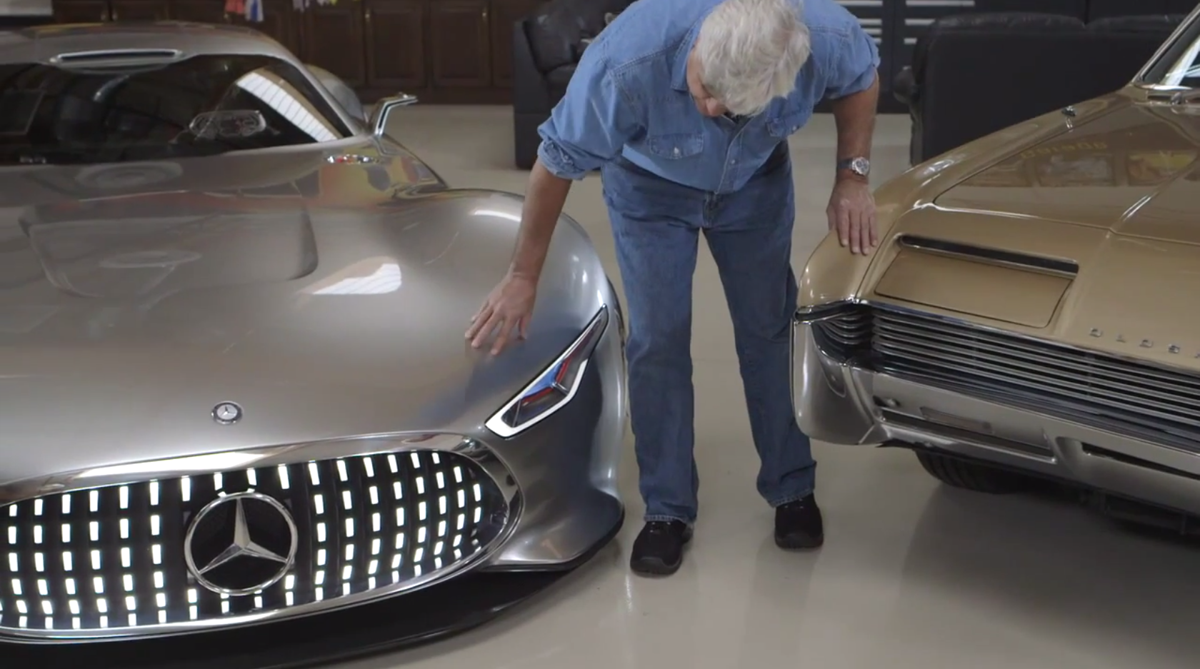 Amg vision gran turismo makes a visit inside jay leno 39 s for Garage amg auto