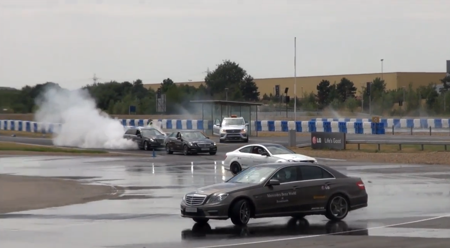 amgs doing drifting and burnouts at mercedes benz world