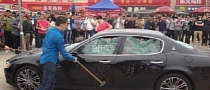 Angry Chinese Maserati Owner Destroys His Car in Protest