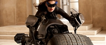 Anne Hathaway as Catwoman Riding the Bat-Pod in The Dark Knight Rises