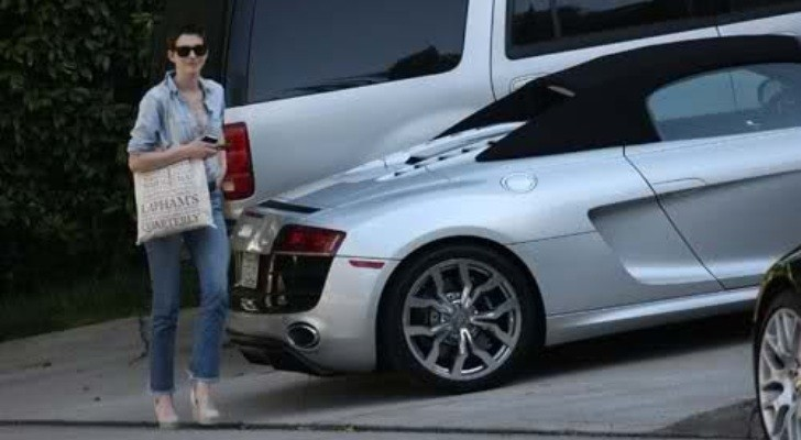 Anne Hathaway Drives an Audi R8 Spyder