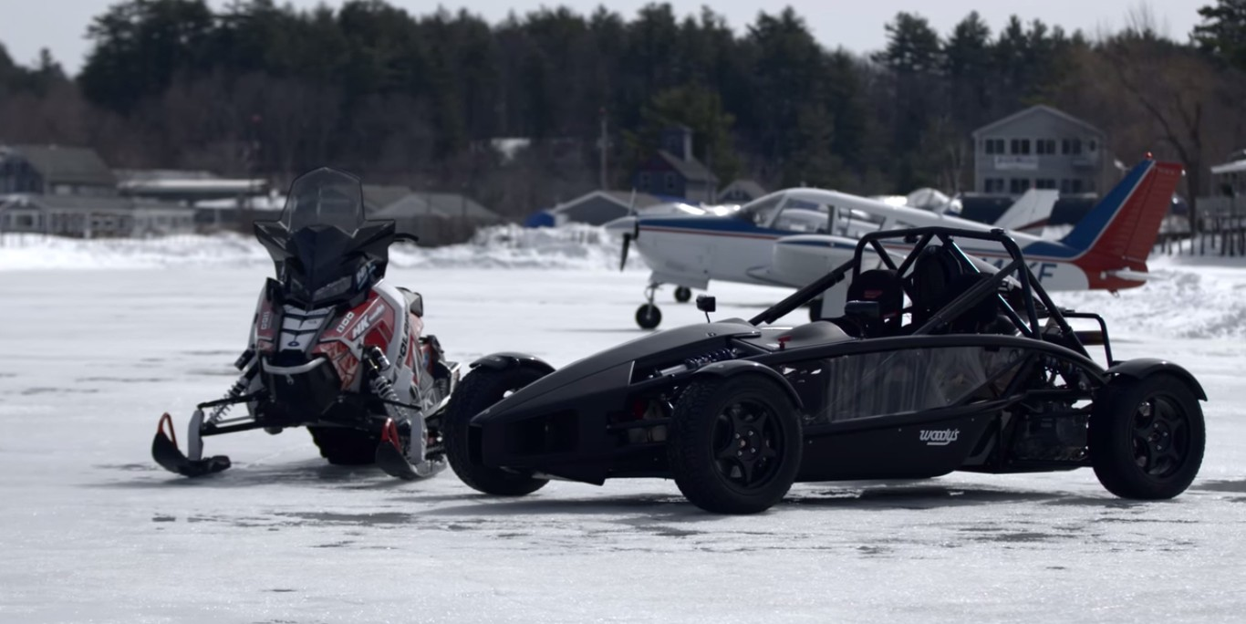 Ariel Atom Meets Polaris Snowmobile in Drag Race on Ice