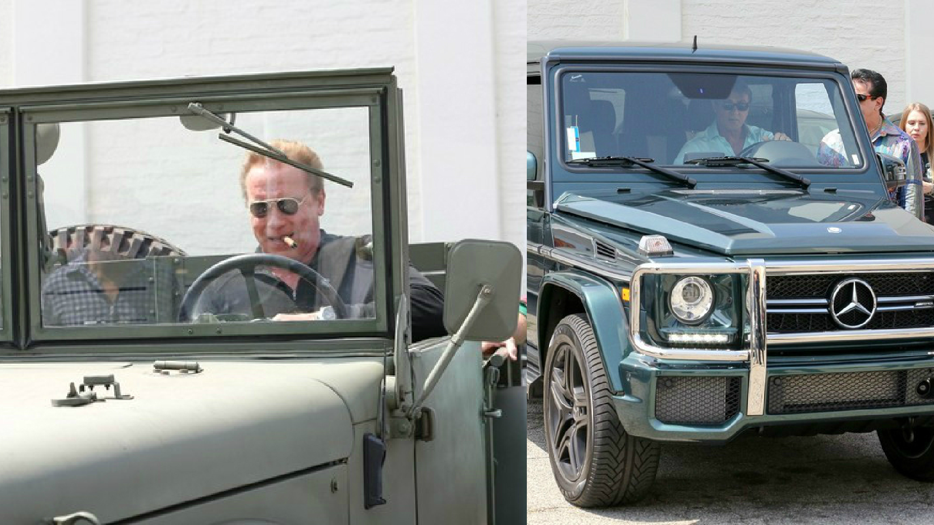 Arnold Schwarzenegger And Sylvester Stallone Seen Driving Their