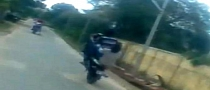 Asian Pillion Wheelie Starts Well, Ends Bad [Video]