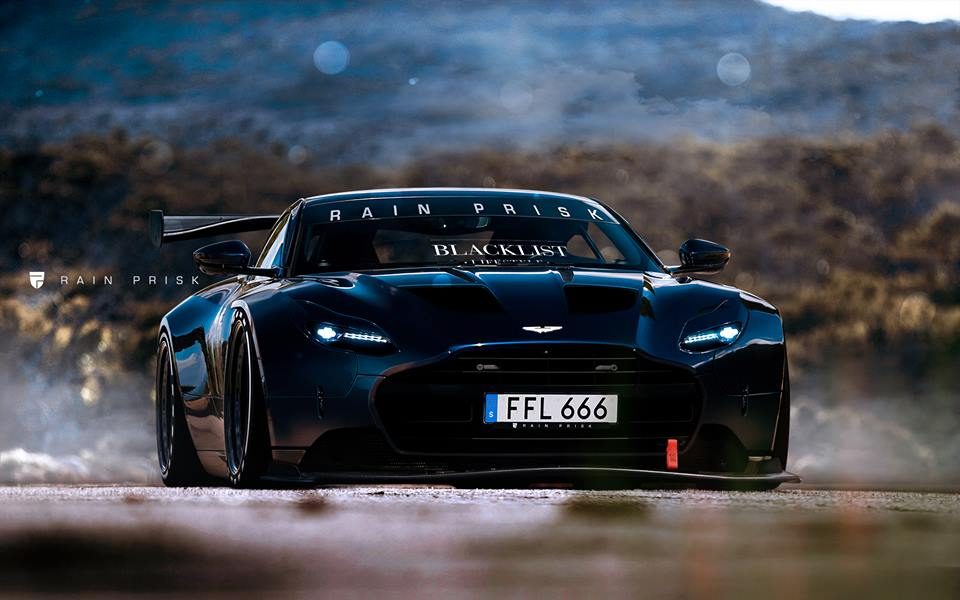 Aston Martin DB Racecar With Vulcan Headlights Rendering Surfaces - Aston martin headlights