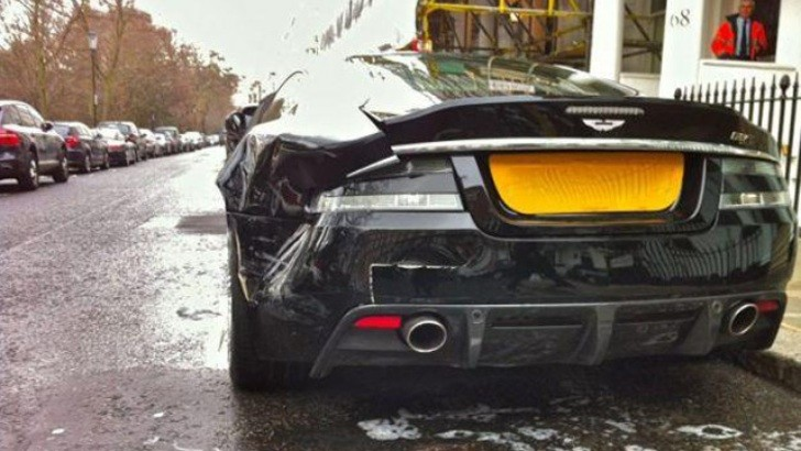 Aston Martin DBS Rear-Ended While Parked in London