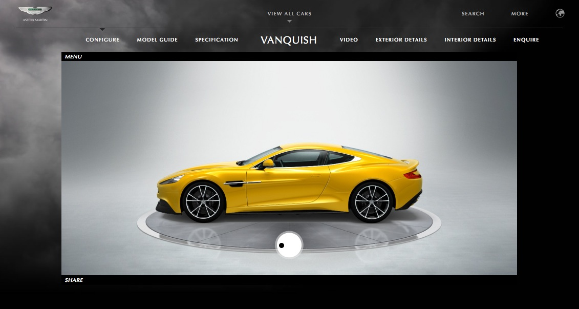 aston martin vanquish configurator - autoevolution