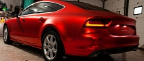 Audi A7 Wrapped in Red Satin Chrome [Photo Gallery]