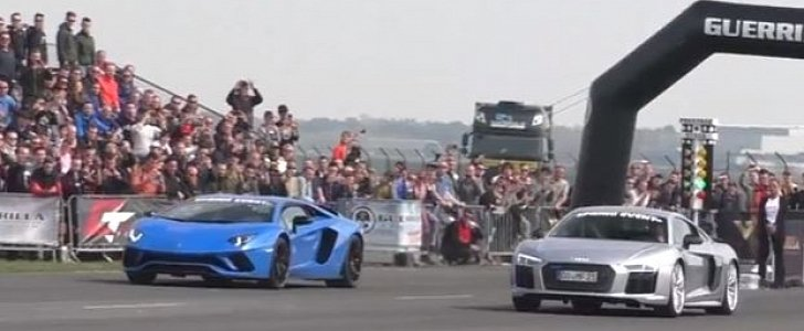 Audi R8 V10 Plus Sleeper Drag Races Lamborghini Aventador S, Trampling Is Hard