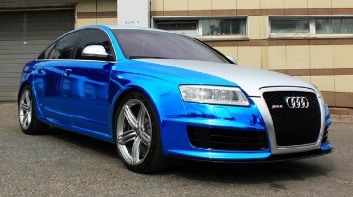 Audi RS6 Blue Chrome Wrap From Russia