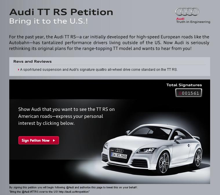 Audi TT RS US Import Official Petition Site Launched