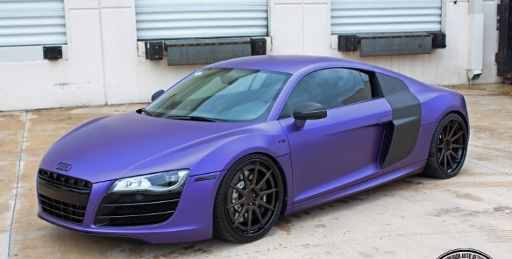 Awesome Audi R8 Sports ADV.1 Wheels, Purple Wrap [Photo Gallery]