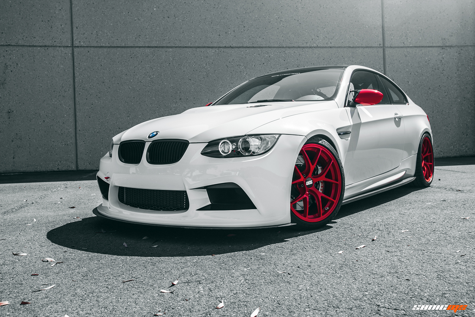 BMW E92 M3 On Red BBS Wheels
