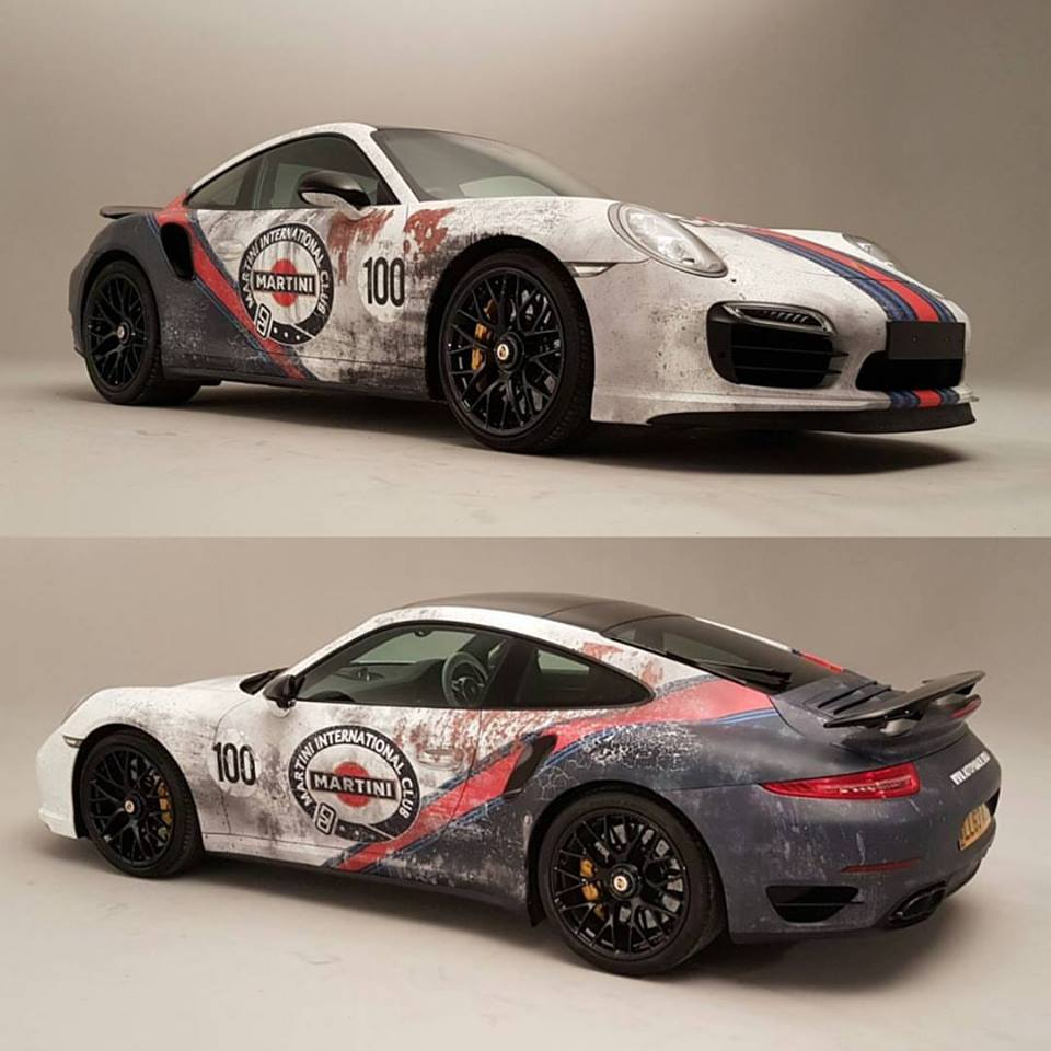 awesome porsche 911 turbo s with beater martini livery was once white autoe. Black Bedroom Furniture Sets. Home Design Ideas