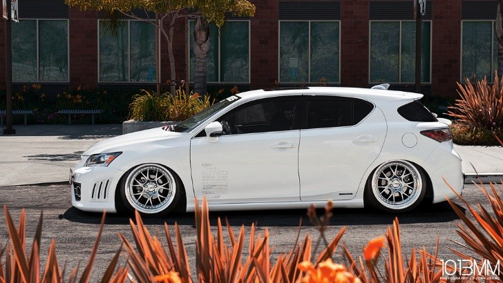 Bagged Lexus CT 200h on SSR Wheels