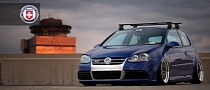 Bagged VW Golf R32 on HRE Wheels